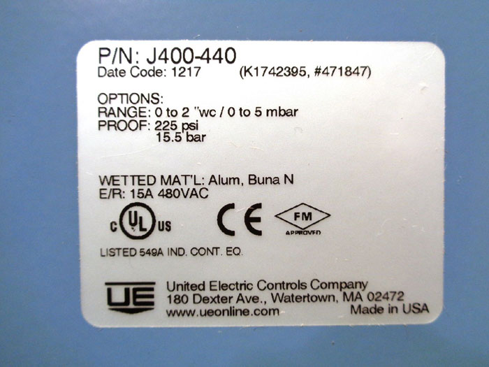 UNITED ELECTRIC PRESSURE CONTROL, PART#: J400-440