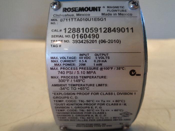 ROSEMOUNT MAGNETIC FLOWMETER - 8711TTA010U1E5G1