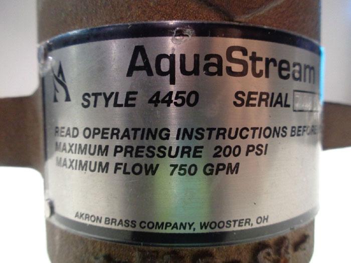AKRON AQUASTREAM MASTER STREAM BRASS NOZZLE 4450 FOR FIXED MONITORS