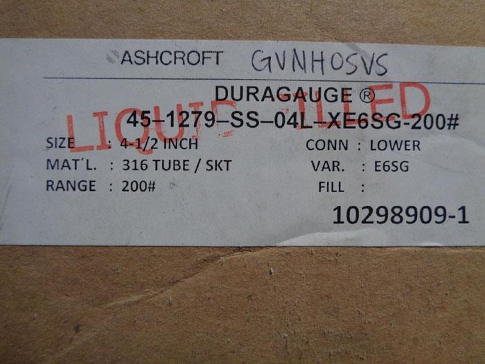 "LOT OF (2) ASHCROFT 4-1/2"" DURAGAUGE 1279"