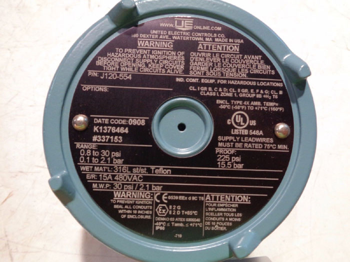 UNITED ELECTRIC J120-554 EXPLOSION PROOF PRESSURE SWITCH
