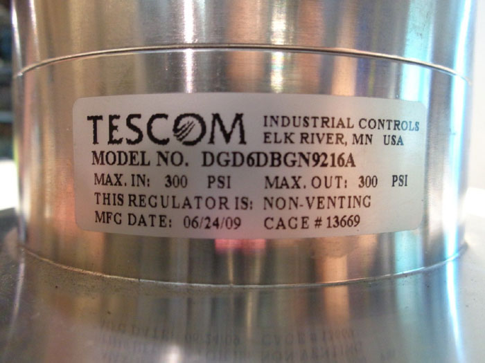 "TESCOM 1"" DG SERIES SINGLE STAGE NON-VENTING REGULATOR DGD6DBGN9216A"