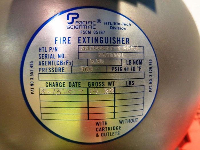 PACIFIC SCIENTIFIC FIRE EXTINGUISHER PRESSURE VESSEL CARTRIDGE 33700027-1