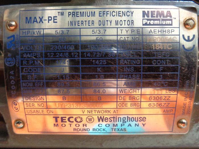 WESTINGHOUSE TECO MAX-PE PREMIUM EFFICIENCY INVERTER DUTY MOTOR AEHH8P, NP0054C