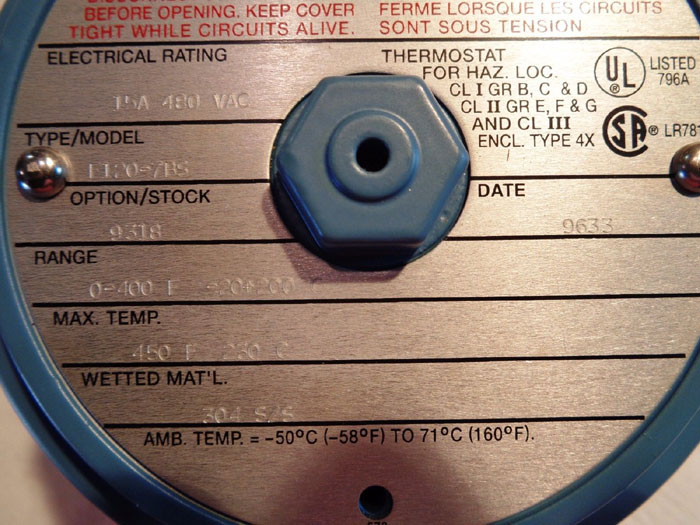 UNITED ELECTRIC EXPLOSION PROOF TEMPERATURE SWITCH F120-7BS