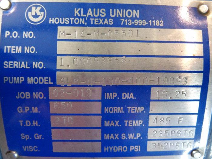 """KLAUS UNION 4"""" X 5"""" 150# MAGNETIC DRIVE PUMP SLM-N-100-400-190S3"""