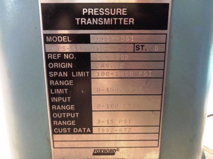 FOXBORO PRESSURE TRANSMITTER, MODEL#: 11GM-DS1