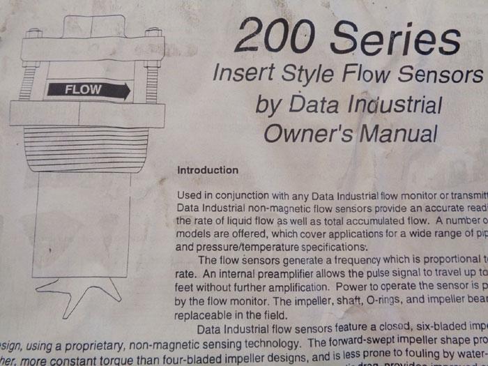 DATA INDUSTRIAL 200 SERIES INSERT STYLE FLOW SENSOR, 220B