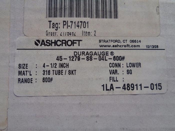 "ASHCROFT DURAGAUGE 4-1/2"" MODEL#: 45-1279-SS-04L-600# W/DIAPHRAGM 202"