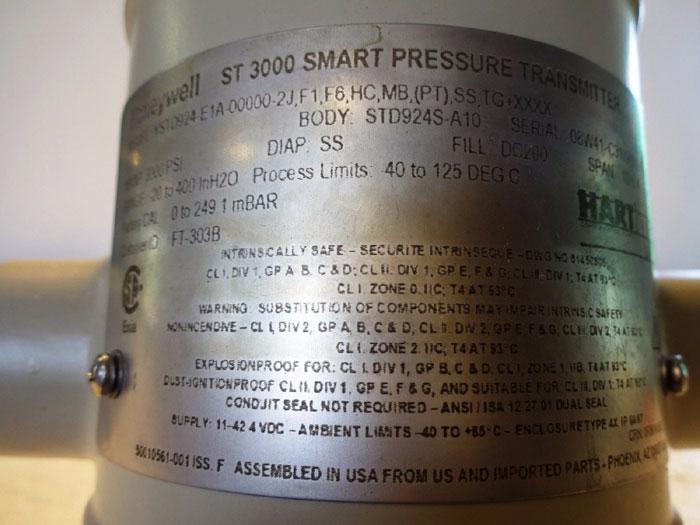 HONEYWELL ST 3000 SMART PRESSURE TRANSMITTER YSTD924-E1A