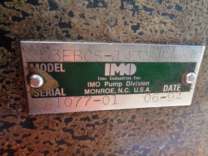 "IMO 1-1/4"" X 2"" PUMP D3EBCS-143"