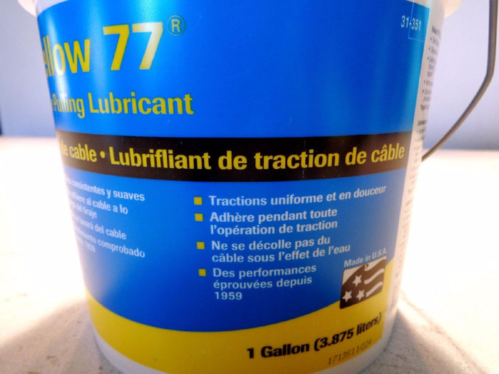 LOT OF (12) 1-GALLON BUCKETS OF IDEAL YELLOW 77 WIRE PULLING LUBRICANT #31-351
