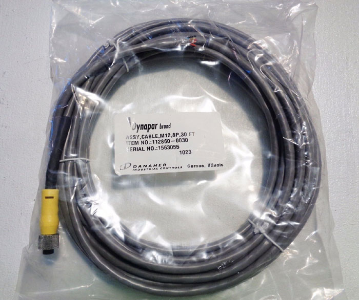 LOT OF (2) DYNAPAR CABLE ASSEMBLY M12, 8P, 30FT, ITEM#: 112860-0030