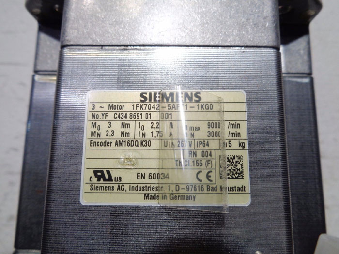 SIEMENS SIMOTICS S SYNCHRONOUS SERVO GEARMOTOR 1FK7042-5AF71-1KG0