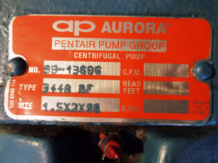 AP AURORA 340 SERIES END SUCTION CENTRIFUGAL PUMP #98-13686, TYPE: 344A BF