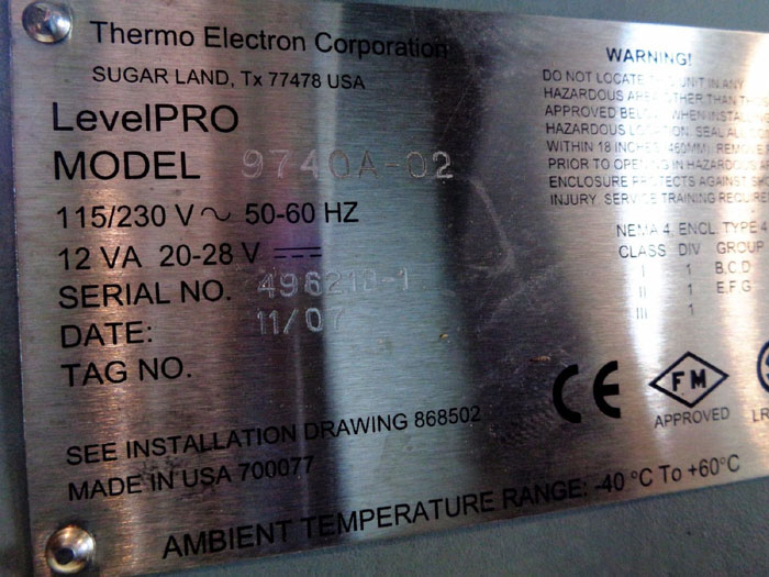 THERMO ELECTRON CORP. LEVELPRO CONTINUOUS GAMMA LEVEL SYSTEM, MODEL#: 9740A-02