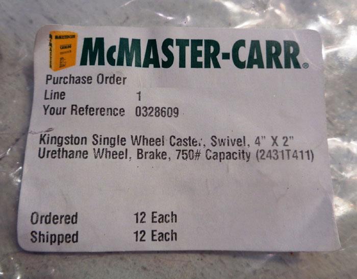 """LOT OF (4) HAMILTON KINGSTON 4""""x2"""" NON-ABRASIVE SWIVEL CASTER, 750 lb. #2431T411"""