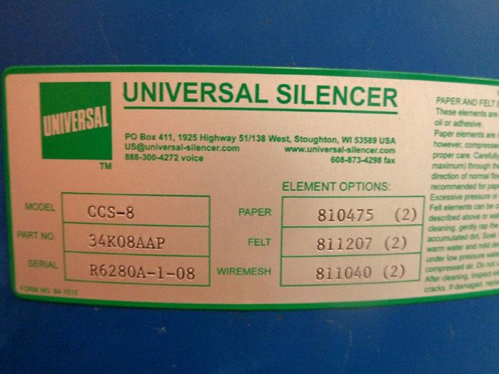 """UNIVERSAL SILENCER 8"""" O.D., MODEL#: CCS-8, PART#: 34K08AAP"""