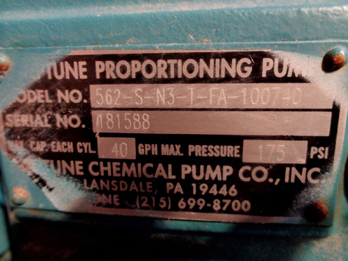 NEPTUNE PROPORTIONING PUMP 562-S-N3-T-FA-1 W/ LEESON MOTOR C4C17FC32B, #10286200