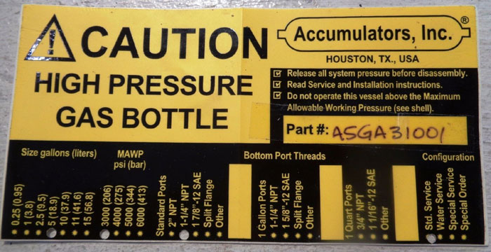 ACCUMULATORS INC. 5-GALLON, 3,000 PSI HIGH PRESSURE GAS BOTTLE #A5GA31001