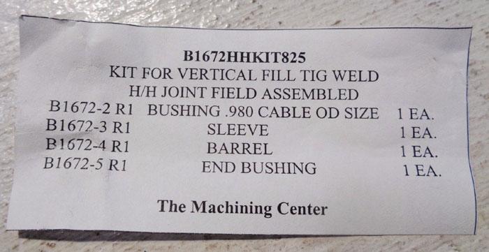 LOT OF (25) SLEEVE BUSHING BARREL KITS FOR VERTICAL TIG WELD #B1672HHKIT825