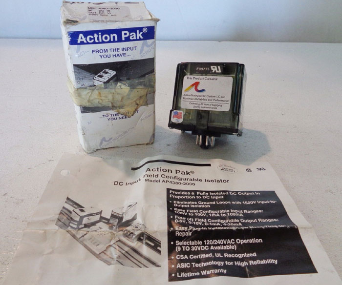 ACTION PAK DC INPUT FIELD CONFIGURABLE ISOLATOR - MODEL 4380-2000