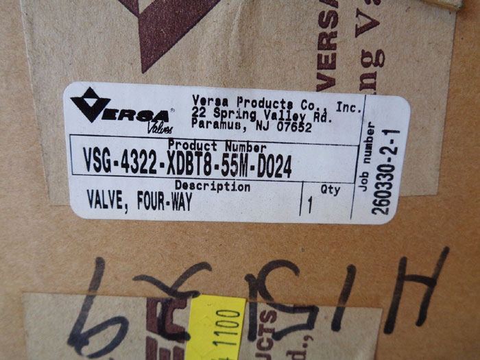 VERSA 4-WAY AIR VALVE VSG-4322-XBT8-55M-D024 W/ PART# E4-3198-33-XDBT5-D024