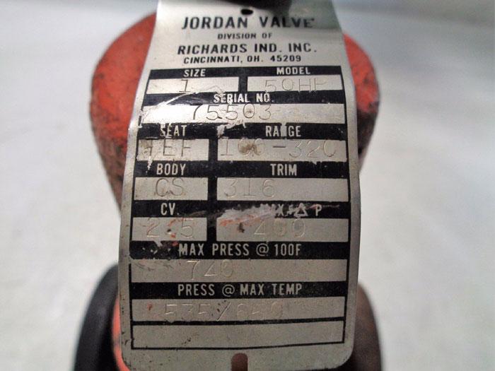 """JORDAN 1"""" FLANGED SELF OPERATED BACK PRESSURE REGULATOR MODEL 50HP"""