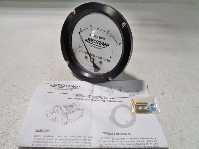 REOTEMP MODEL 42 DELTA METER - DIFFERENTIAL PRESSURE GAUGE