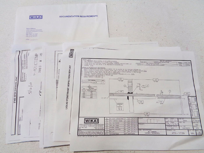 """WIKA ALL TEMP THERMOWELL 2"""" 150# 304SS TYPE K FLANGED TAPERED TC10/TCW10"""