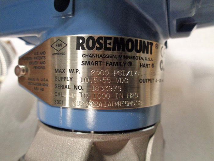 ROSEMOUNT 3051 SMART FAMILY TRANSMITTER W/ (2) DIAPHRAGMS 3051CD3A22A1AB4E5M5S2