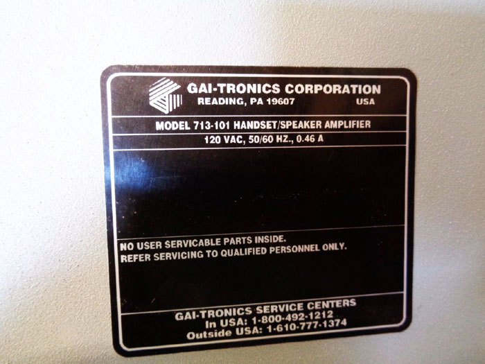 GAI-TRONICS PAGE PARTY SYSTEM AMPLIFIER 713-101