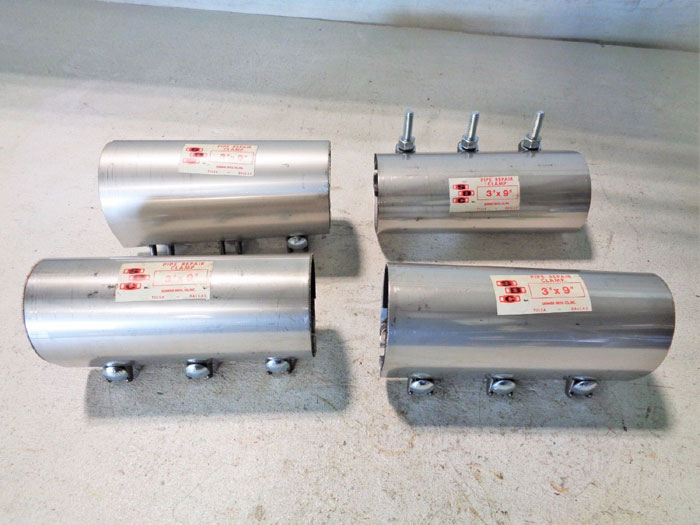 """LOT OF (7) SKINNER STAINLESS PIPE REPAIR CLAMPS 3"""" X 9"""" &  4"""" X 9"""""""