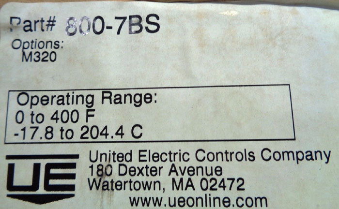 UNITED ELECTRIC INDICATING TEMPERATURE CONTROLLER 800-7BS