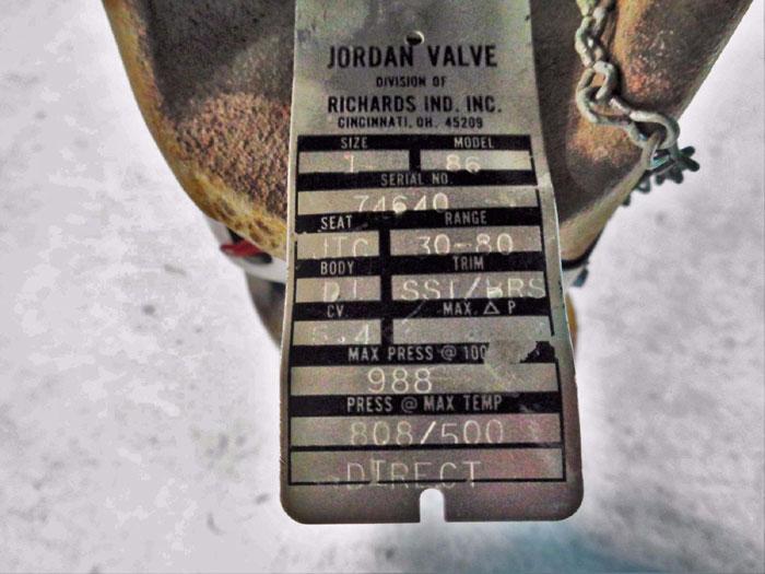 """JORDAN VALVE MODEL 86 TEMPERATURE REGULATOR  3/4"""" OR 1"""""""