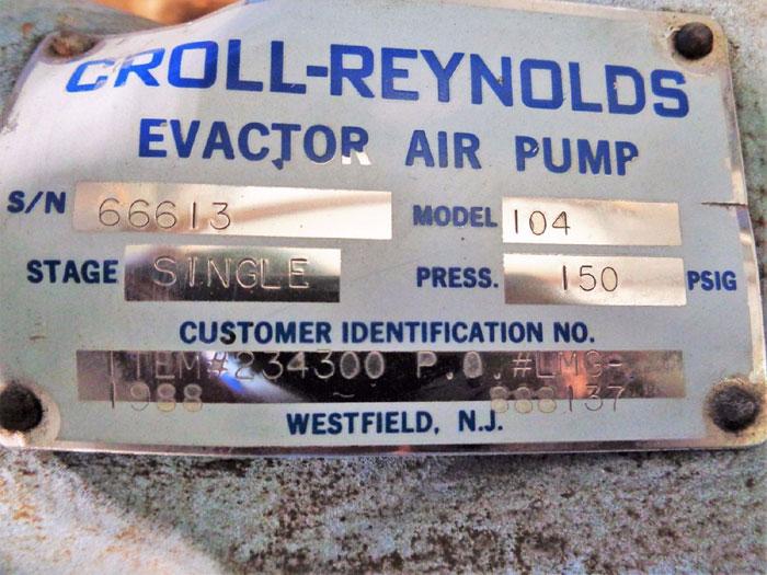 """CROLL REYNOLDS EVACTOR 4"""" 150# SINGLE STAGE AIR PUMP, MODEL#: 104, ITEM#: 234300"""