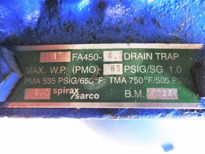 "SPIRAX SARCO  1""  FA450-4.5 FLOAT OPERATED LIQUID DRAIN TRAP 66118A"