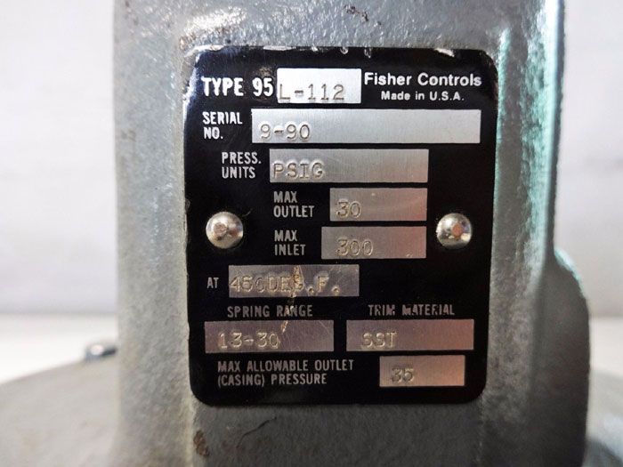 FISHER PRESSURE REDUCING REGULATOR TYPE 95L-112