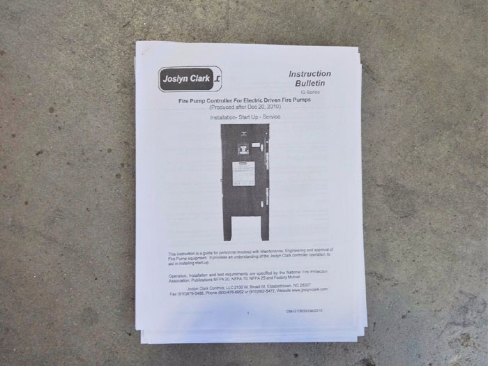 JOSLYN CLARK ELECTRIC FIRE PUMP CONTROLLER G2C154-53R