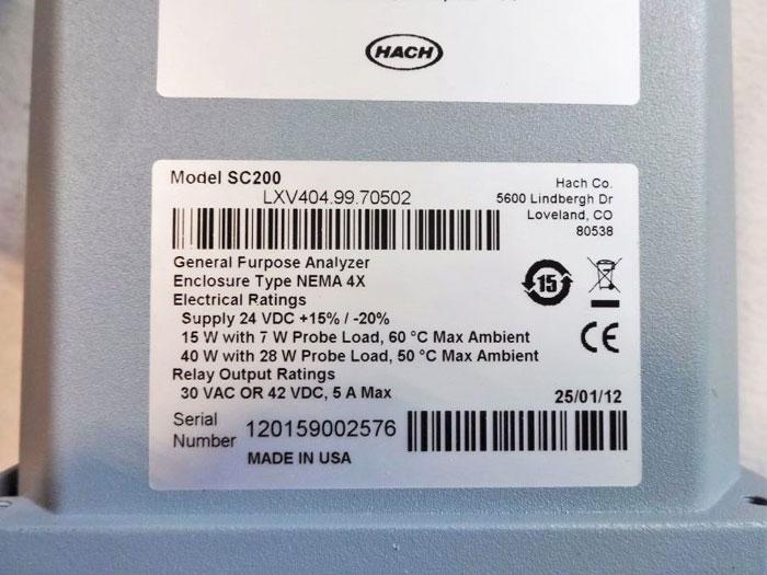 HACH SC200 GENERAL PURPOSE ANALYZER UNIVERSAL CONTROLLER LVX404.99.70552 / 70502