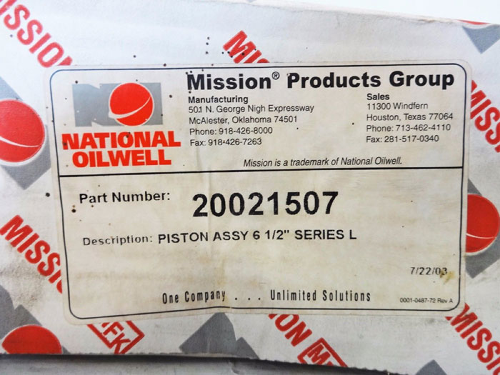 "LOT OF (2) NATIONAL OILWELL MISSION PRODUCTS GRP 6-1/2"" L SERIES PISTON 20021507"