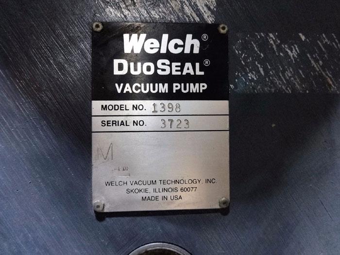 WELCH DUOSEAL VACUUM PUMP 1398 w/ GE MOTOR 5KS213AD206B & SQUARE D STARTER SBW13