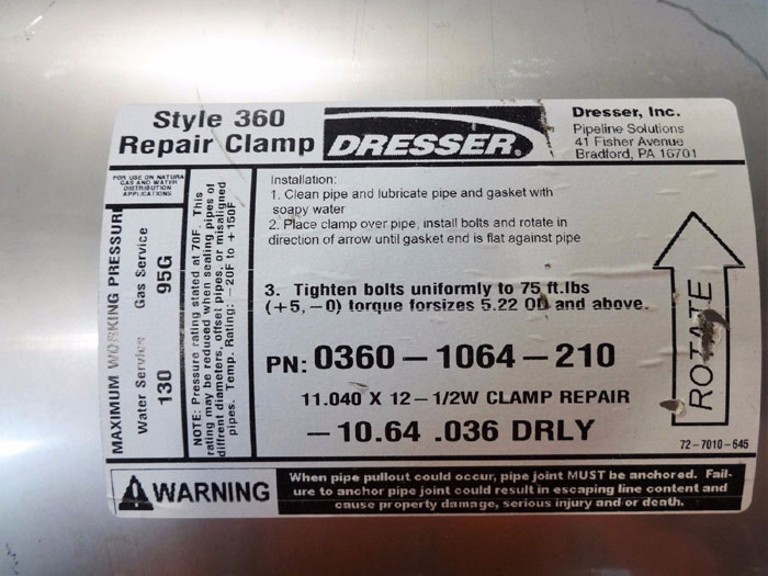 """DRESSER STYLE 360 STAINLESS STEEL 11.040"""" x 12-1/2""""W REPAIR CLAMP 0360-1064-210"""