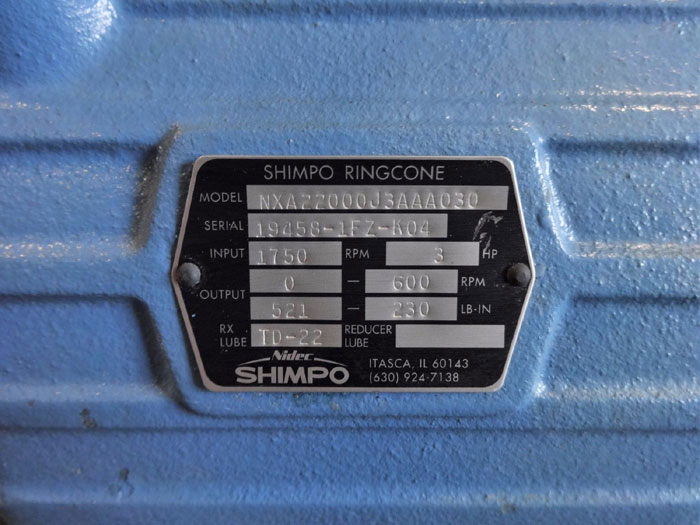 NIDEC SHIMPO RINGCONE MECHANICAL ADJUSTABLE SPEED DRIVE NXA22000J3AAA030