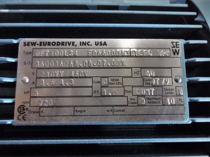 SEW-EURODRIVE GEARBOX SA67DT100LS4 F066000830 W/ 3HP MOTOR DFT100LS4