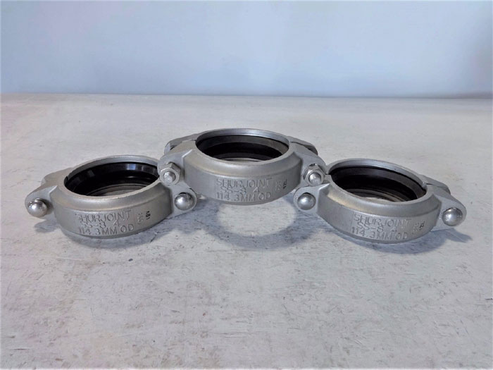 """LOT OF (3) SHURJOINT 4"""" FLEXIBLE COUPLING SS-8  304 STAINLESS STEEL"""