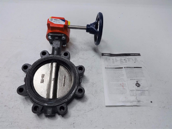 """NIBCO LUG STYLE 6"""" BUTTERFLY VALVE LD-3510-4 WITH GEAR OPERATOR"""