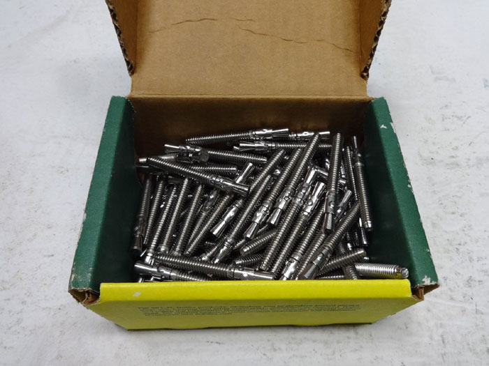 "100-PC BOX OF DOTTIE 1/4"" x 2-1/4"" STAINLESS WEDGE ANCHORS, FULL THREAD WS14214"