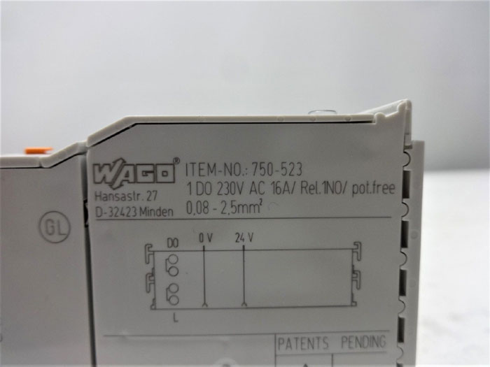 LOT OF (5) WAGO 1-CHANNEL RELAY OUTPUT MODULE RELAY