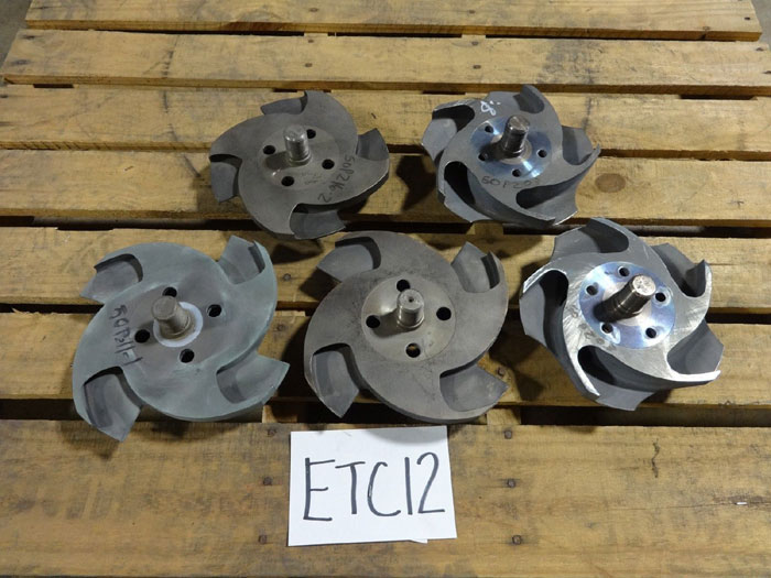 "LOT OF (5) DURCO IMPELLERS 4 & 5 VANE, 9-1/8"", 8-1/8"" & 8"" - 53314 & 33560"